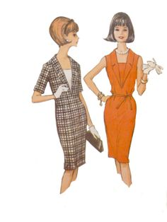 60s Slim Dress Pattern Deep V Neckline by VintageNeedleFinds, $10.00
