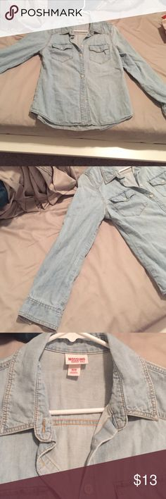 Light blue cotton, Jean-look long sleeve shirt Lightly worn, bought from Target. Cotton material, very comfortable. Mossimo Supply Co. Tops