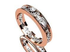 Thin Filigree ring Diamond ring two tone by TorkkeliJewellery, $1290.00