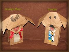 Make Origami Dog faces and glue to tissue box