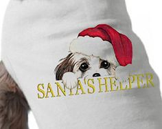 Dog TShirt - Christmas - Santa's Helper - Christmas Dog T-Shirt - Pet Graphic Tee - Holiday Dog Shirt