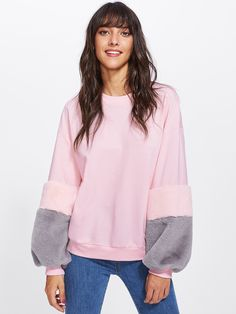 Pink Drop Shoulder Contrast Faux Fur Sleeve Women's Sweatshirt Color Block Long Sleeve Round Neck Oversized Pullover Brand Name: SheIn Gender: Women Item Type: Outfits For Teens, Stylish Outfits, Sweater Hoodie, Pullover, Pink Long Sleeve Tops, Clothing Patterns, Faux Fur, Clothes For Women, Sweatshirts