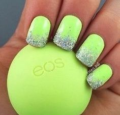Limey green nails with  glittery tips of sparkling sliver!