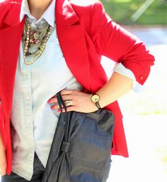 Red Pendleton blazer plus DIY necklace: %100 thrifted outfit!