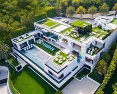 Luxusvilla für 150 Millionen US-Dollar in Los Angeles, 924 Bel Air Road Villa Design, Mega Mansions, Mansions Homes, Dream Home Design, Modern House Design, Bel Air Road, Conception Villa, Billionaire Homes, Architecture Cool