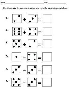 printable kindergarten math worksheets domino addition 3 school pinterest kindergarten. Black Bedroom Furniture Sets. Home Design Ideas
