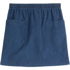 A.P.C. Chambray Mini Skirt (2,430 MXN) ❤ liked on Polyvore featuring skirts, mini skirts, bottoms, blue, clothes - skirts, stripe skirt, short mini skirts, blue striped skirt, striped skirt and striped short skirt