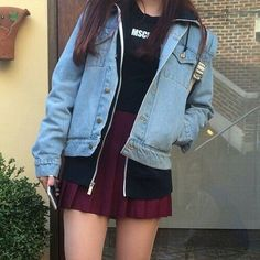 korean fashion / kfashion / spring look / jean jacket / tennis skirt Ulzzang Fashion, Asian Fashion, Look Fashion, Girl Fashion, Fashion Outfits, Womens Fashion, Fashion Trends, Trendy Fashion, Fashion Tips