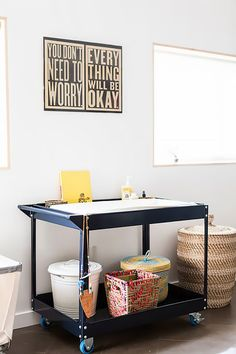 A non-traditional changing station for baby's first nursery