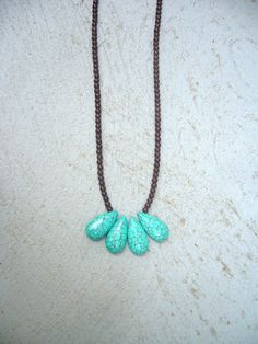 Turquoise fan long necklace