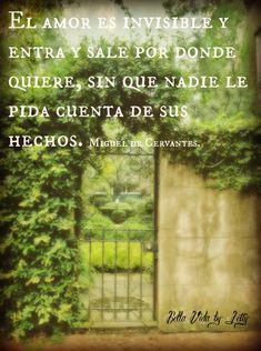 El amor es invisible ye entra y sale por donde quiere sin que nadie le pida cuenta de sus  hechos. Miguel de Cervantes #dichos #frases de #amor
