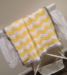 Crochet Baby Blanket Yellow, Grey and White - by kylieB on madeit