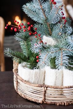 Easy Holiday Centerpiece - Put a Sweater on it - The Lilypad Cottage