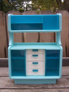 Vintage Doll House Barbie Dream House, Vintage Toy ,Retro 1978?? Mattel Furniture Blue Buffet Hutch China Cabinet. , via Etsy.>> I had this... and all the extremely tiny little silverware and dishes too! :P