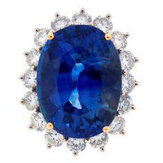 23.34-ct Sapphire Diamond & Platinum Ring
