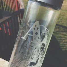 Etched Glass Water Bottle 12.8 fl oz (Repurposed)