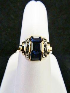 Vintage Art Deco Sapphire 10k Gold Ring  10k by GranvilleGallery