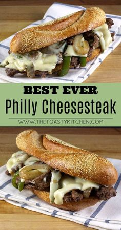 Best Ever Philly Cheesesteak by The Toasty KitchenYou can find Steak sandwiches and more on our website.Best Ever Philly Cheesesteak by The Toasty Kitchen Steak Sandwich Recipes, Skirt Steak Recipes, Beef Recipes, Cooking Recipes, Steak Cheese Sandwich, Philly Cheese Steak Sandwich Recipe Easy, Steak And Cheese Sub, Steak Sandwiches, Thin Steak Recipes
