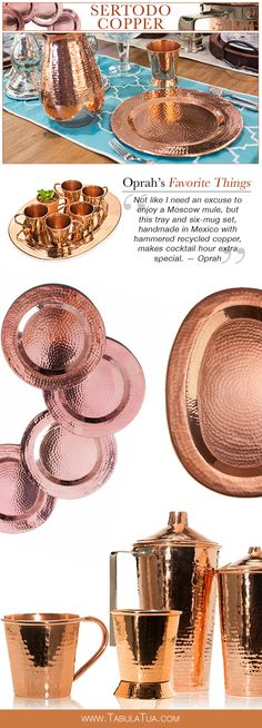 """""""Not like I need an excuse to enjoy a Moscow mule, but this tray and six-mug set, handmade in Mexico with hammered recycled copper, makes cocktail hour extra special."""" — Oprah"""