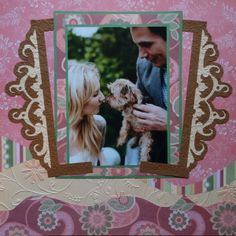 Love, Engagement scrapbook page with a Frame from Cricut's Reminisce