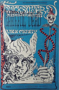 Grateful Dead Fillmore West Concert Poster Bill Graham 1968 Poster Art by Lee Conklin