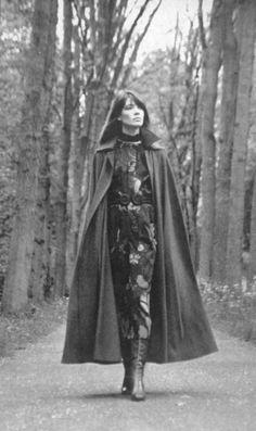 Francoise Hardy in Yves Saint Laurent Cape,Bois de Boulogne. ca 1970.Photo Arnaud de Rosnay