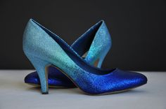 Blue ombre low heels - medium heels, amazing blue pump, three the most favourite colors of blue ombre heels perfect as a wedding shoes or for parties
