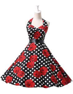 Women's 50s 60s Vintage Cotton Rockabilly Party Dress 11 Colors at Amazon Women's Clothing store: