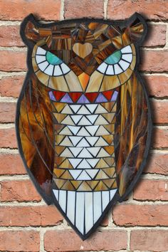 Learn the art of Stained Glass Mosaics! Sign up for the Online Class via www.kasiamosaicsclasses.com  Student Work from a Kasia Mosaics Stained Glass Mosaic Owl Workshop - Owl Mosaic by Jill.