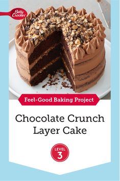 This layered cake is pure chocolate confection. Betty Crocker™ Super Moist™ chocolate cake mix gets an extra chocolaty plus-up from the addition of chocolate pudding before baking. A from-scratch dangerously good dark chocolate buttercream frosting covers the three layers of cake. The special addition that takes this dessert to the next level? A toffee bits crunch that's sprinkled among the frosting in between the cake layers, and then piled atop the cake. Chocolate Crunch, Chocolate Cake Mixes, Chocolate Flavors, Chocolate Desserts, Chocolate Buttercream, Chocolate Pudding, Buttercream Frosting, Poke Cakes, Layer Cakes