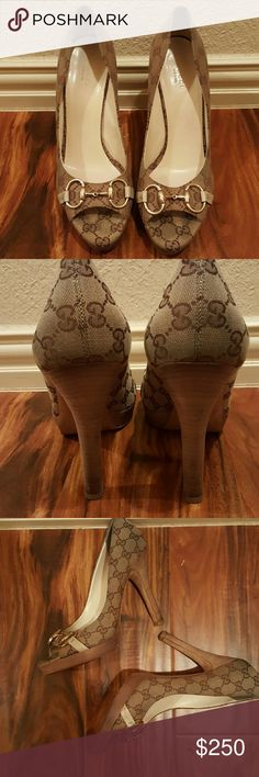 Authentic Gucci Platform Logo Heels Gently used Gucci shoes. They are tan and brown with gold hardware. Gucci  Shoes Heels