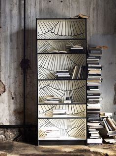 Customize your own Bookcase with wallpaper