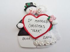 Personalized Wedding Snow Couple Ornament - Our 1st Christmas