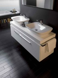 Twin Silk Basins By Keramag Bathroom Sink Units, Closet Remodel, Small Bathroom Pictures, Bathroom Makeover, Bathroom Showrooms, Bathroom Wall Decor, Elegant Bathroom, Sink, Steam Showers Bathroom