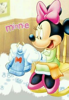 Minnie making a nice sweater for herself or for her best friend Mickey. Disney Mouse, Disney Mickey, Disney Art, Walt Disney, Mickey And Minnie Kissing, Mickey Mouse And Friends, Mickey Minnie Mouse, Minnie Mouse Pictures, Disney Pictures