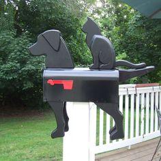 Black Dog & Cat Mailbox Exclusive by Diy Mailbox, Metal Mailbox, Mailbox Post, Mailbox Ideas, Mailbox Designs, Letterbox Designs, Mailbox Stand, Mailbox Makeover, Vintage Mailbox