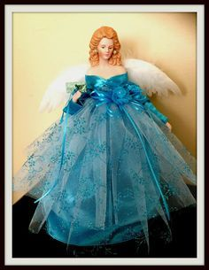 Blue Angel Christmas Tree Angel, Ghost Of Christmas Past, Christmas Tree Tops, Black Christmas, Victorian Christmas, Holiday Tree, Christmas Holiday, Christmas Wreaths, Christmas Decorations