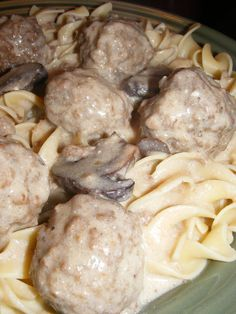 Crockpot Meatball Stroganoff cook on low for 6-8 hours: 1 can Cream of Mushroom soup 1 14.5-ounce can beef broth 1 18-ounce package frozen fully-cooked meatballs (about 35 meatballs) 8 ounces sliced fresh mushrooms Mix, then add and cook on low for 10 minutes: 1 cup sour cream 1 Tablespoon flour 1/3 cup water Serve with egg noodles