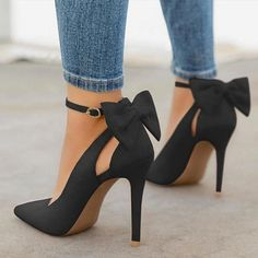 Women High Heels Brand Pumps Women Shoes Pointed Toe Buckle Strap Butterfly Summer Sexy Party Shoes Wedding Shoes Plus Size DE - heels classy High Heel Pumps, Women's Pumps, Stiletto Heels, Bow Heels, Black High Heels, Super High Heels, Cool High Heels, Blue Pumps, Pointed Toe Heels