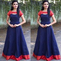South Indian Gown : Blissing blue and red patterened gown South Indian Gown : Blissing blue and red patterened gown Mongoosekart Brings for you Huge collection of South Indian fashion gown, South Indian Dresses, South Indian Gows, South Wedding gowns, Sou Long Gown Dress, Frock Dress, Saree Dress, Set Saree, Saree Blouse, Long Dress Design, Dress Neck Designs, Kurti Designs Party Wear, Kurta Designs