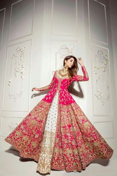 There is a shade of red for every woman. Our classic red bridal couture has just the right amount a traditional touch mixed with… Indian Wedding Gowns, Pakistani Wedding Outfits, Indian Bridal Lehenga, Indian Gowns Dresses, Indian Bridal Outfits, Indian Bridal Wear, Pakistani Wedding Dresses, Indian Designer Outfits, Red Lehenga
