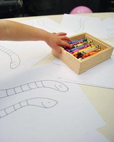 Fête d'enfants  Dessiner préalablement images à colorier en lien avec le thème de la fête.  Worm birthday from Young House Love