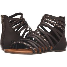 Billabong Sunset Lover Sandal (Espresso) Women's Sandals ($27) ❤ liked on Polyvore featuring shoes, sandals, brown, woven sandals, braided sandals, strap sandals, gladiator sandals and summer sandals
