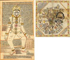 """An """"astrogram"""" and a chakra diagram from the 1700's/1800's Jain tantric drawings. India, Rajasthan, the Astrogram, 19th Century; the Chakra Diagram, 18th Century. The Astrogram featuring a figure..."""