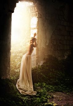 backless dress in the woods..like a fairy