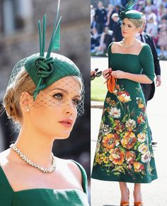 Lady Di niece Kitty Spencer in D&G at Windsor Castle for the wedding from Prince Harry & Meghan Markle