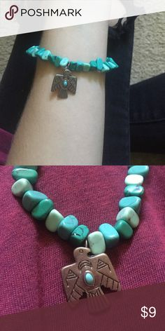 Navajo Inspired Turquoise Bracelet Turquoise stones w/ Navajo inspired charm. Perfect condition. Super cute stacked or by itself! Stretchy material so easy to wear ✨ Jewelry Bracelets