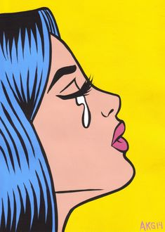 Blue Hair Comic Crying Girl Original Painting Pop Art Turddemon Outsider Girls | eBay