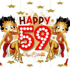 Betty Boop Happy 59th Birthday, Happy 59th Birthday Betty Boop Birthday, Minnie Mouse, Disney Characters, Fictional Characters, Happy, Ser Feliz, Fantasy Characters, Being Happy