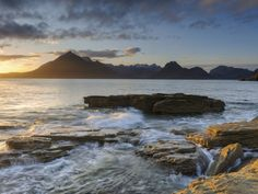 Sunset at Elgol Beach on Loch Scavaig, Cuillin Mountains, Isle of Skye, Scotland Photographic Print by Chris Hepburn at AllPosters.com